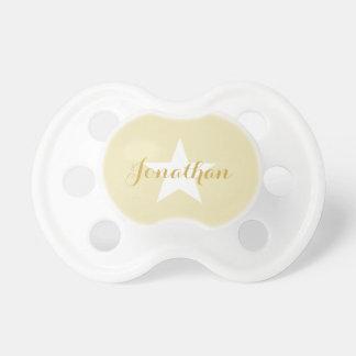HAMbyWG Baby-Schnuller - beige weißer Stern u. Schnuller