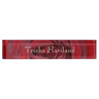 HAMbyWG Schreibtisch-Namensschild - Rote Rose Namensplakette
