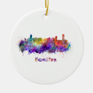 Hamilton skyline im Watercolor Keramik Ornament