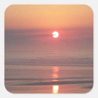 Hampton-Strand-Sonnenaufgang-Hampton-Strand-New Quadratischer Aufkleber