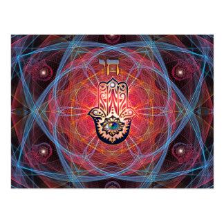 Hamsa - CHAI - heilige Geometrie Postkarte