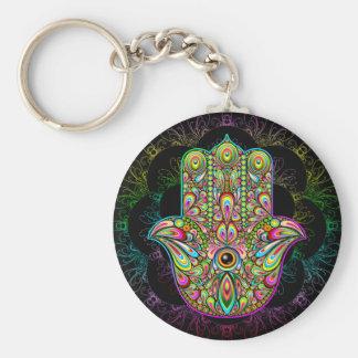 """Hamsa Hand psychedelisches 2,25"""" grundlegender Schlüsselanhänger"""