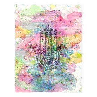 HAMSA Hand von Fatima-Symbol Postkarte