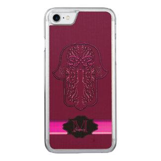 Hamsa Handmeisterstück: Herz (Rosa) Carved iPhone 8/7 Hülle