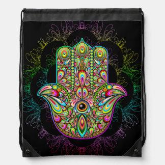 Hamsa Handpsychedelischer Drawstring-Rucksack Turnbeutel