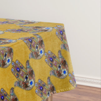 Hamsa Herz-Blumen-Opalkunst auf Gold Tischdecke