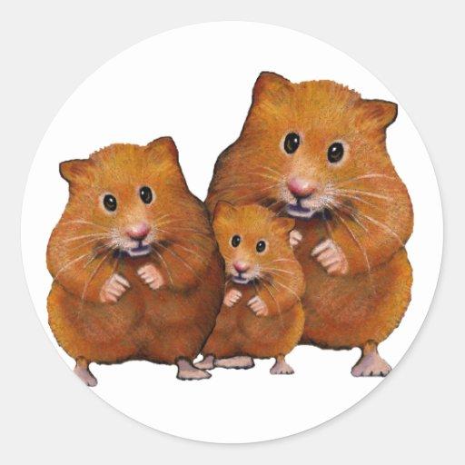 Hamster-Familie von drei: Niedlich: Farbbleistift Runde Aufkleber