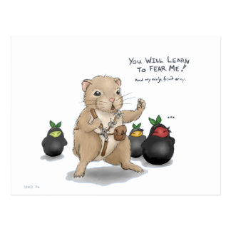 Hamster und Ninja Frucht Postkarte