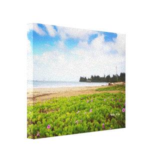 Hanalei Bucht, Strand-Blumen Kauais Hawaii Leinwanddruck