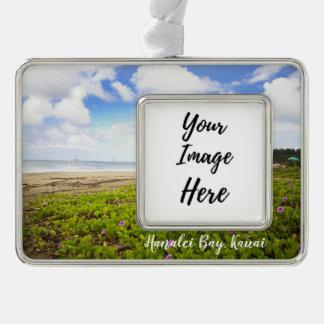 Hanalei Bucht • Strand Kauais Hawaii Rahmen-Ornament Silber