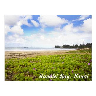 Hanalei Bucht, tropische Strand-Szene Kauais Postkarte