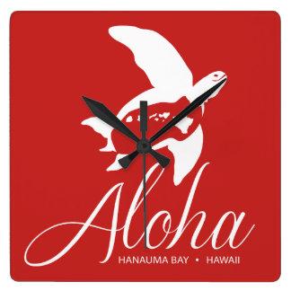 Hanauma Bucht-Hawaii-Schildkröte Quadratische Wanduhr