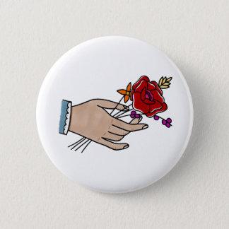 Hand//-Blumen-Abzeichen Runder Button 5,1 Cm