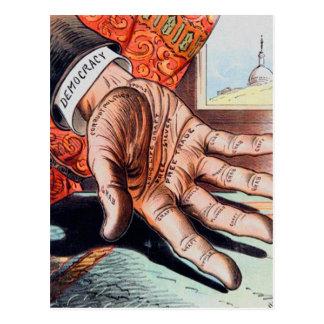 Hand der Demokratie-Vintagen Retro Illustration Postkarte