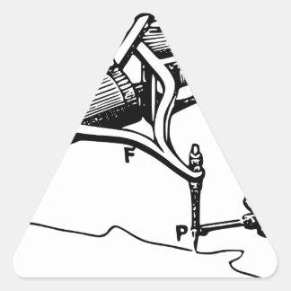 Hand, die altes Gerät repariert Dreieckiger Aufkleber