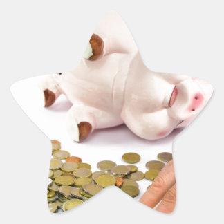 Hand, die Euromünzen von der piggy Bank zählt Stern-Aufkleber