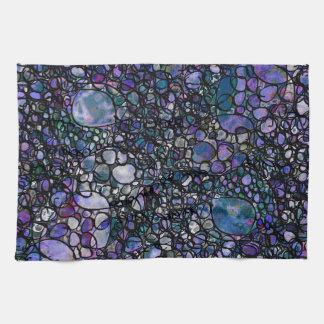 Hand-Gezeichnete abstrakte Kreise, Blau, lila, Handtuch