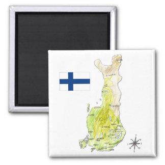 Hand gezeichnete Farbkarte von Finnland Kühlschrankmagnet