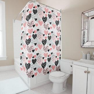 Hand gezeichnete Herzen und Punkt-Muster ID471 Duschvorhang