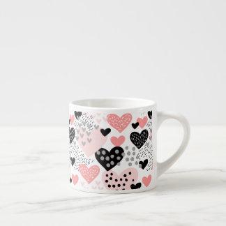 Hand gezeichnete Herzen und Punkt-Muster ID471 Espressotasse