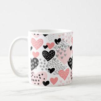 Hand gezeichnete Herzen und Punkt-Muster ID471 Kaffeetasse
