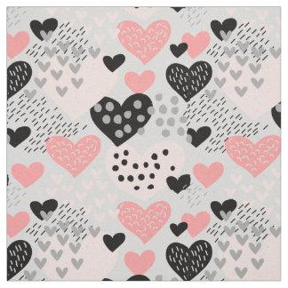 Hand gezeichnete Herzen und Punkt-Muster ID471 Stoff