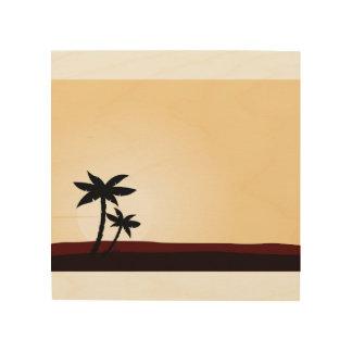 Hand gezeichnete Kunst auf Holz: Palmen