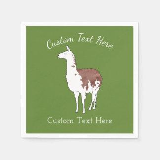 Hand gezeichnete Lama U-Auswahl Hintergrund-Farbe Papierserviette