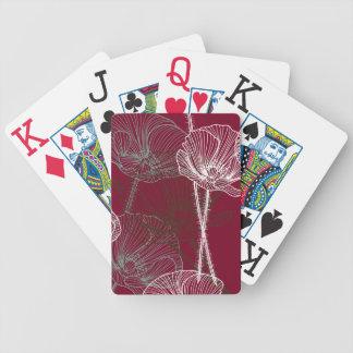 Hand gezeichnete Mohnblumen auf Rot Bicycle Spielkarten