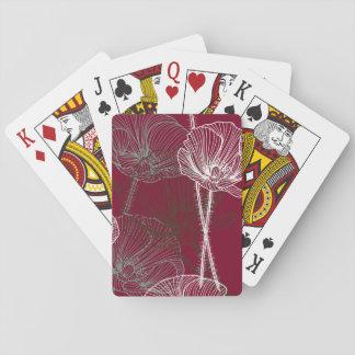 Hand gezeichnete Mohnblumen auf Rot Spielkarten