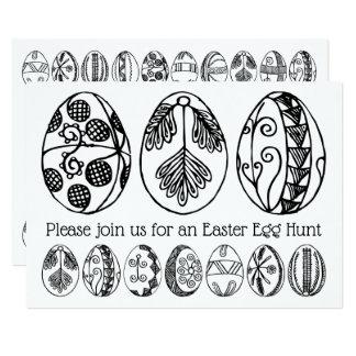Hand gezeichnete Osterei-Jagd-Farbton-Einladung Karte