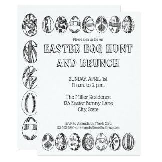 Hand gezeichnete Ostereier, die Ostern-Einladung Karte