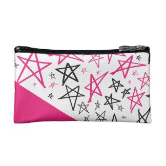 Hand gezeichnete Sterne im Rosa Makeup-Tasche