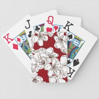 Hand gezeichnete weiße wilde Blumen auf Rot Bicycle Spielkarten