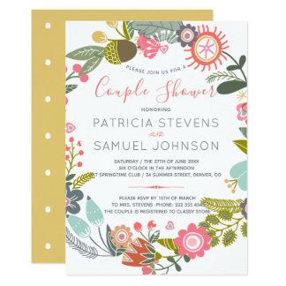Hand gezeichnete Wildblumenwiese Wreath-Paardusche Karte