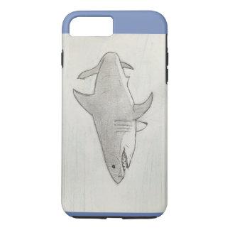 Hand gezeichneter großer weißer Haifisch iPhone 8 Plus/7 Plus Hülle