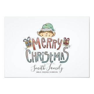 Hand gezeichneter Weihnachtself Karte