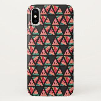 Hand gezeichnetes abstraktes Wassermelone-Muster iPhone X Hülle