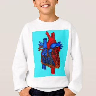 Hand gezeichnetes Aqua-anatomisches Herz Sweatshirt