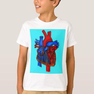 Hand gezeichnetes Aqua-anatomisches Herz T-Shirt