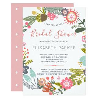 Hand gezeichnetes Blütenwiese Wreath-Brautparty Karte