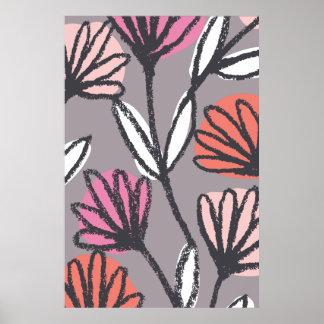 Hand gezeichnetes botanisches mit Blumenplakat Poster