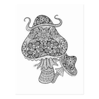 Hand gezeichnetes magisches Pilz-Gekritzel Postkarte
