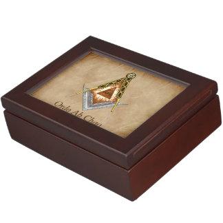 Hand gezeichnetes Quadrat und Kompass mit allem Erinnerungsdose
