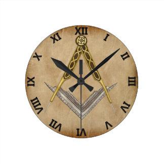 Hand gezeichnetes Quadrat und Kompass Runde Wanduhr