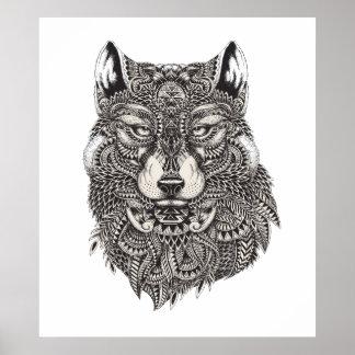 Hand gezeichnetes Wolf-Plakat Poster