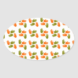Hand Pattern green orange Ovaler Aufkleber