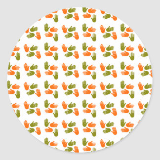 Hand Pattern green orange Runder Aufkleber