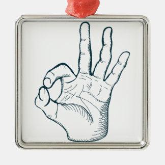 Hand zeichnen Vintages okay Zeichen der Skizze Quadratisches Silberfarbenes Ornament