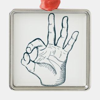 Hand zeichnen Vintages okay Zeichen der Skizze Silbernes Ornament